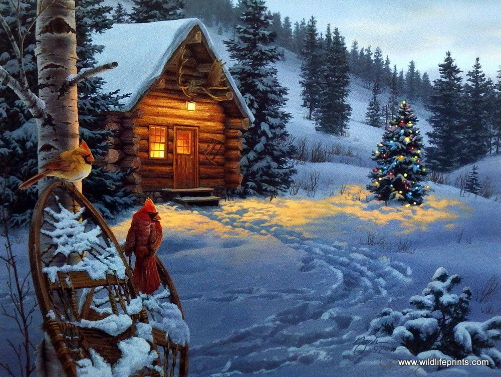 Artist Darrell Bush Unframed Cabin And Cardinal Print Winter Colors Thomas Kinkade Christmas Christmas Scenes Snow Scenes