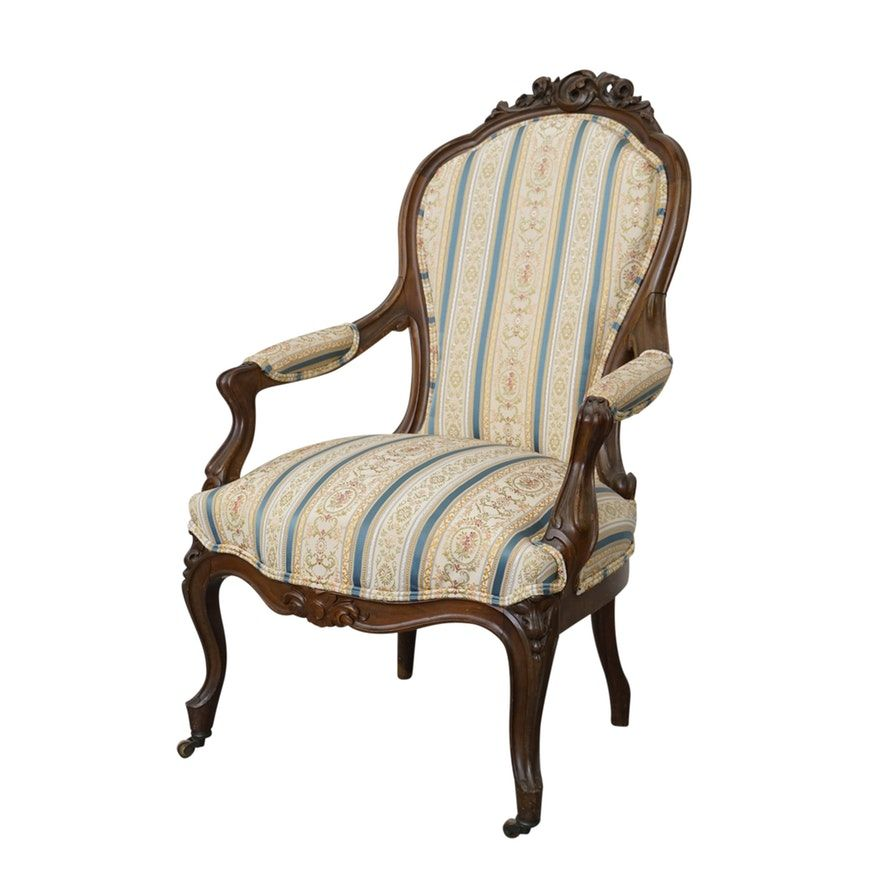 Antique victorian walnut and upholstered parlor chair