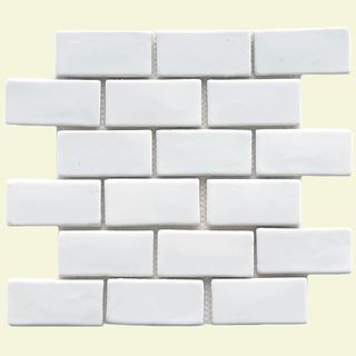 Somertile 12x12 In London Subway White Handmade Ceramic Mosaic Tile Pack Of 5