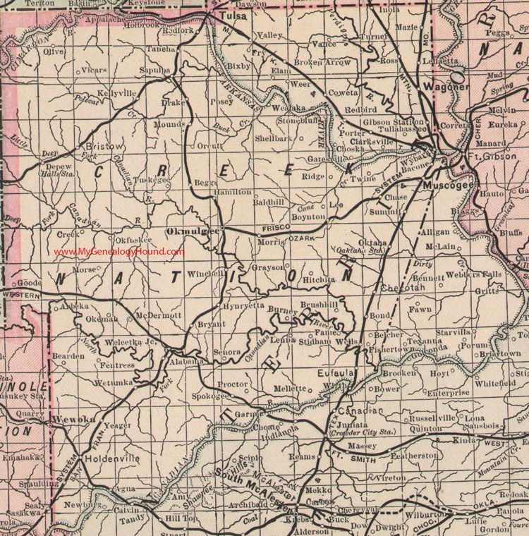 Creek Nation Indian Territory Map 1905 Muscogee, Okmulgee, Tulsa ...