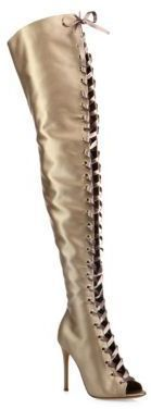 Gianvito Rossi Marie Satin Over-The-Knee Lace-Up Peep Toe Boots