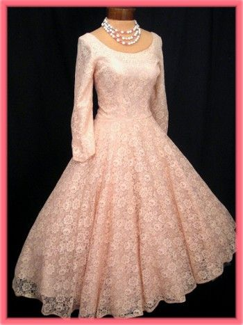 cee883d0b22 50 s Vintage Pink Lace Full Skirt Tea Length Semi Formal Dress ...