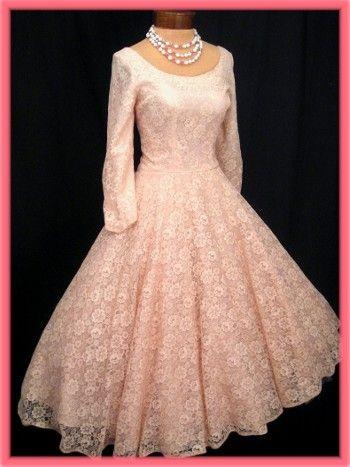 50's Vintage Pink Lace Full Skirt Tea Length Semi Formal Dress ...