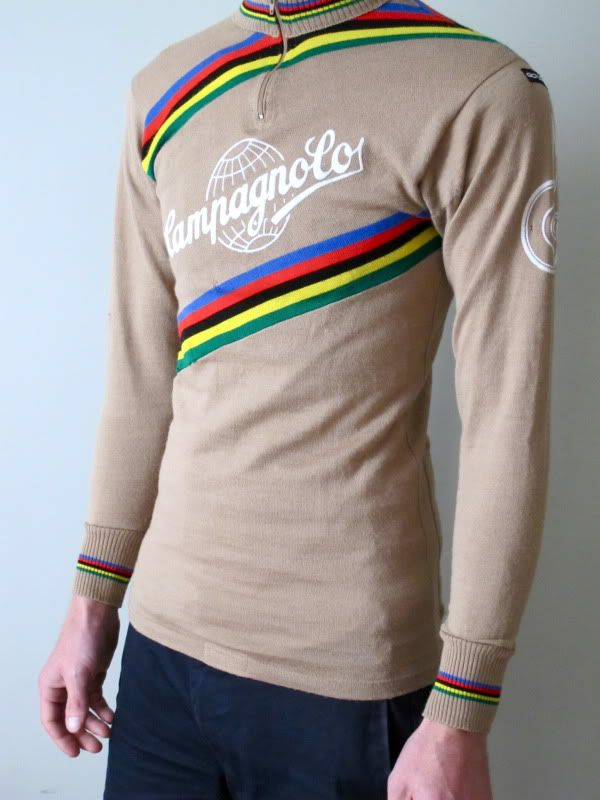 vintage campagnolo cycling jersey made by giordana italy / 80% wool 20% acrylic / size 2