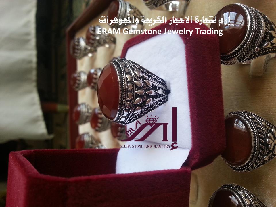 خواتم رجالي كلاسيك 15 عقيق يمني احمر كبدي دم الغزال قص ياقوتي درجة اولى Agate Gemstone Jewelry Gemstones Cuff Bracelets