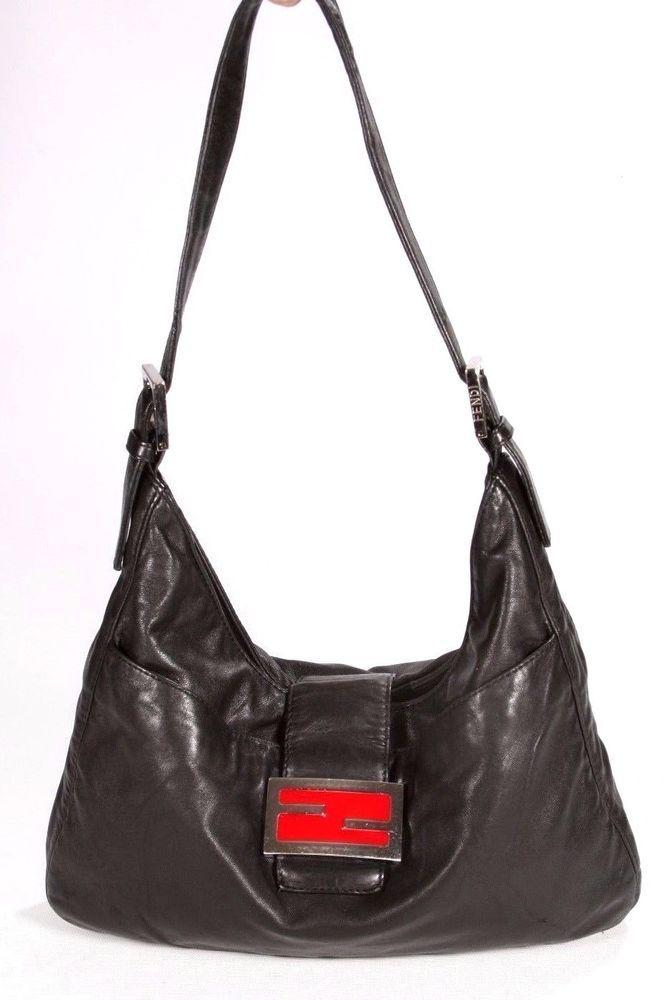 4afed49baea1 Fendi Vintage Black Leather Baguette Shoulder Bag with Shoulder Strap  Fendi   BaguetteSmallShoulderBag