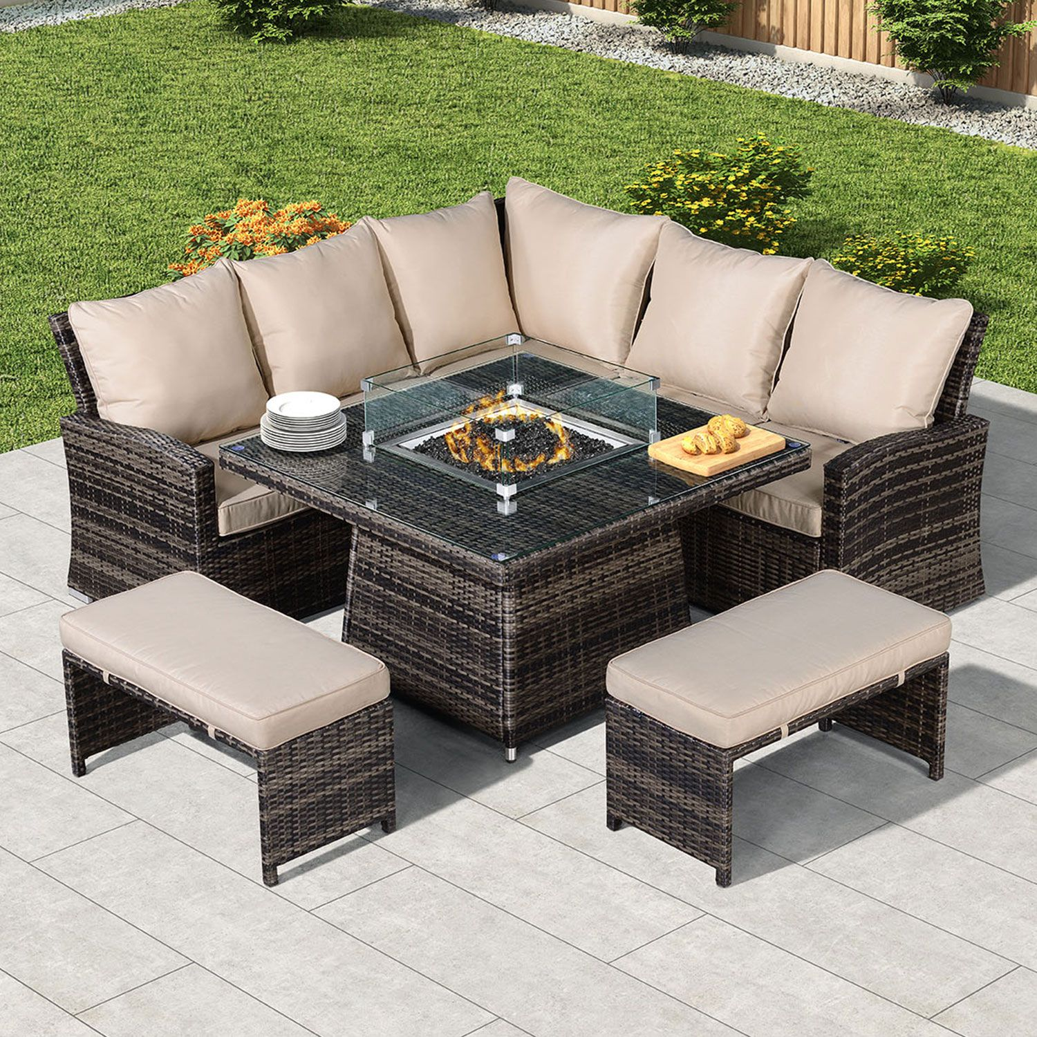 Compact Cambridge Casual Dining Corner Sofa Set With Firepit Table In 2020 Fire Pit Table Corner Sofa Set Gas Fire Pit Table