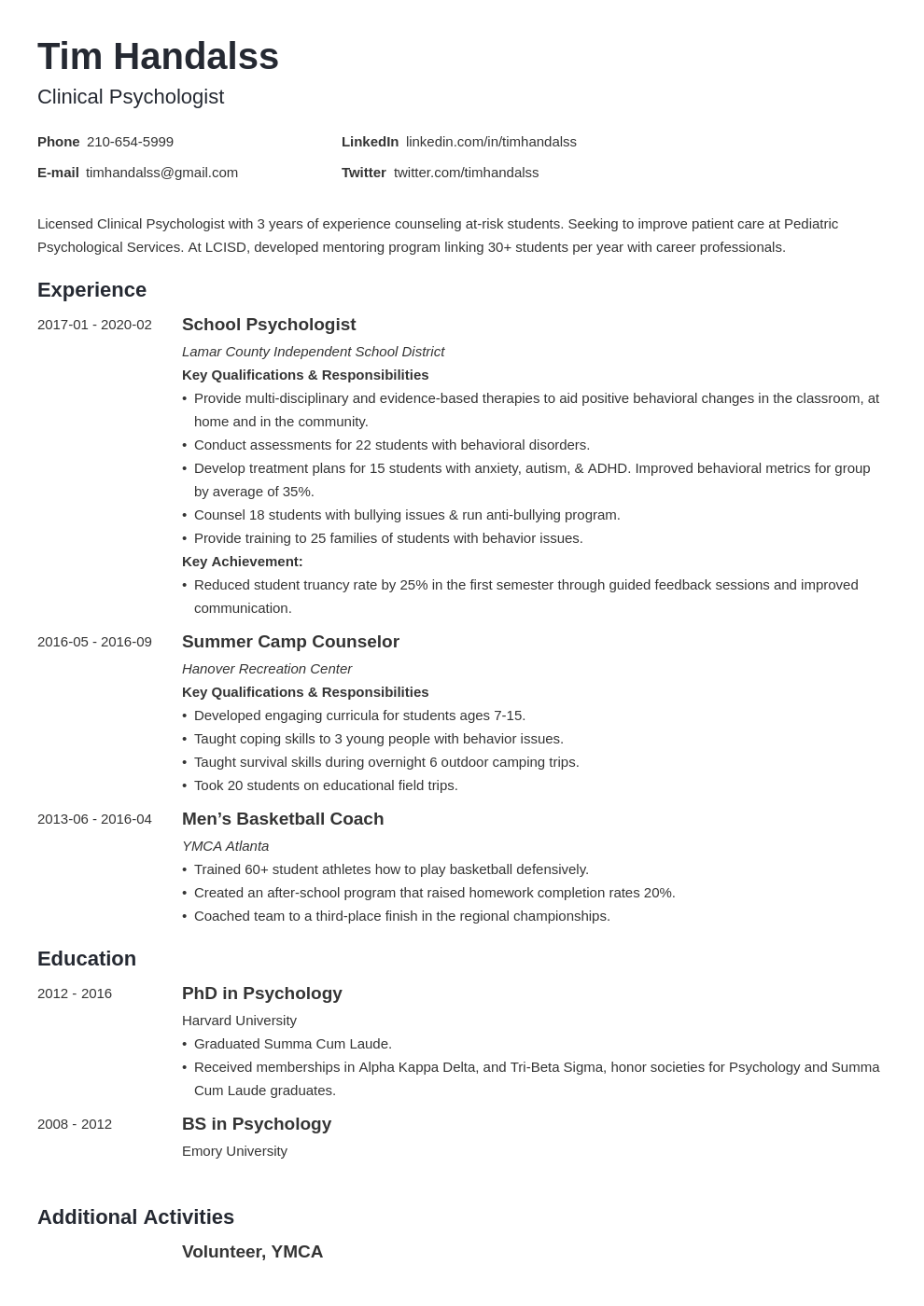 Psychology Resume Example Template Minimo Resume Examples Job Resume Examples Resume