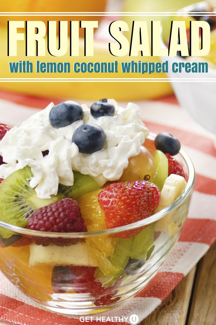 fruit salad with lemon coconut whipped cream  recipe