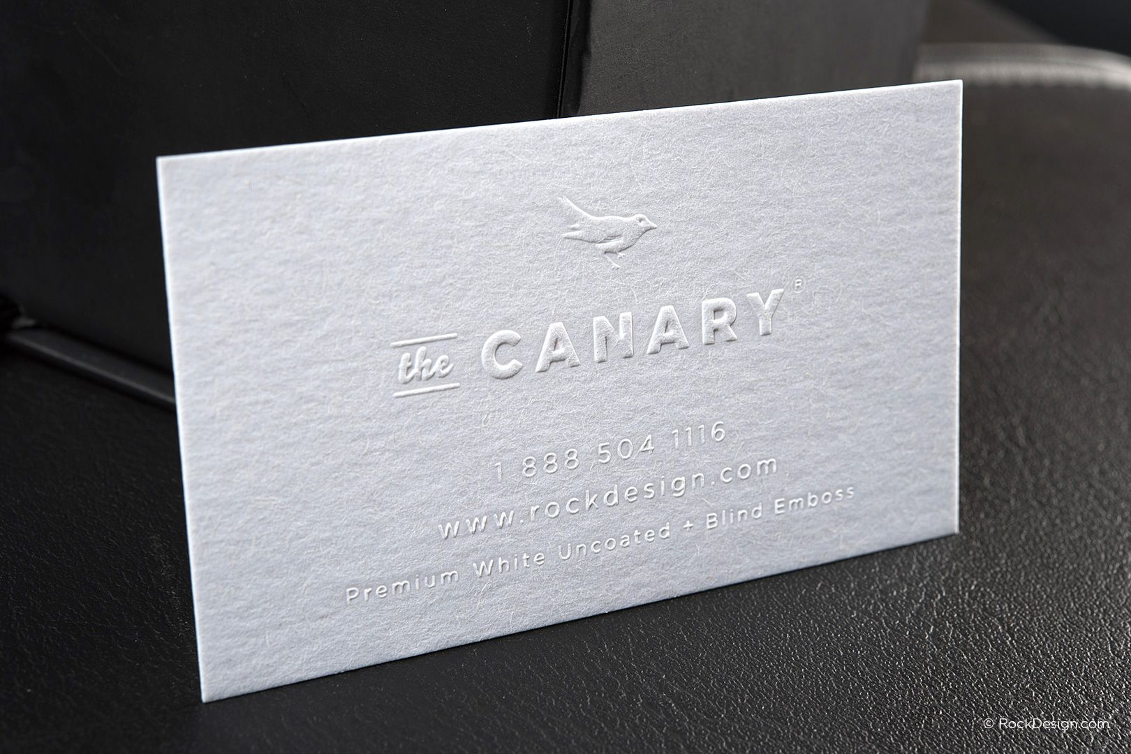 Minimalist blind emboss premium white business card the canary minimalist blind emboss premium white business card the canary rockdesign luxury business card printing wajeb Gallery