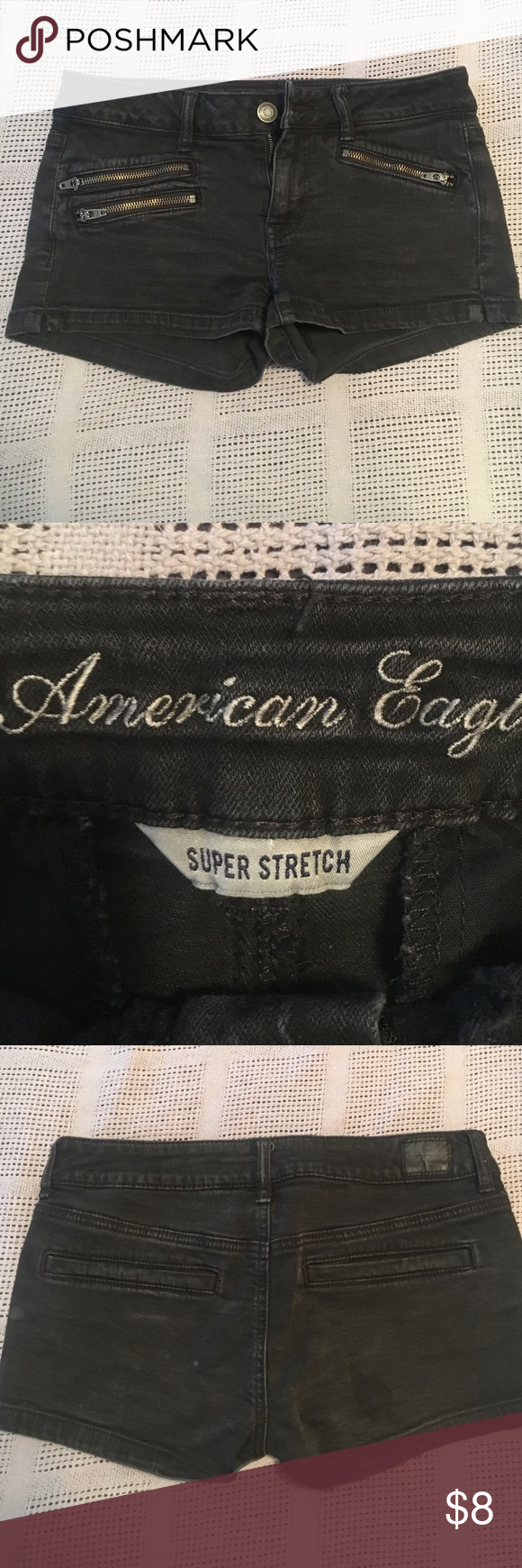 American eagle shorts Distressed black shorts with zipper pockets in front and regular in back, stretchy low to mid rise American Eagle Outfitters Shorts Jean Shorts