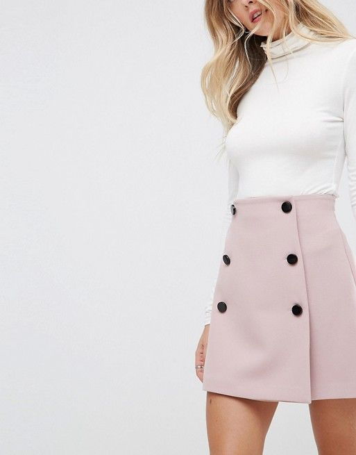 DESIGN double breasted mini skirt