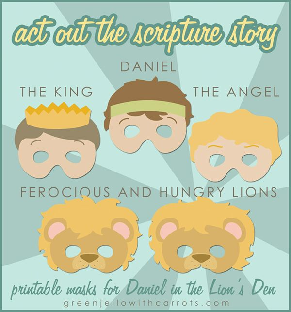 Daniel in the Lion\'s Den Printable Masks | LDS Primary Helps ...