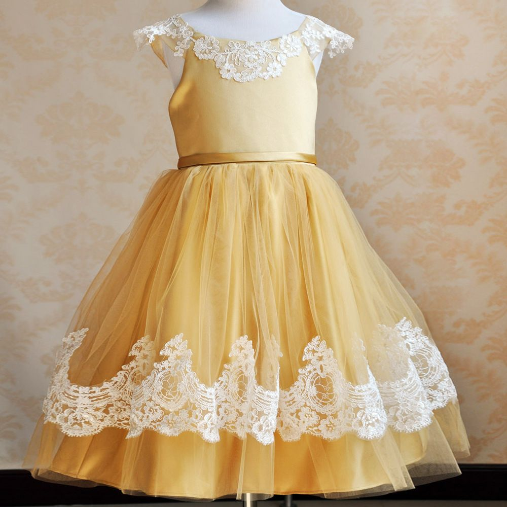 Antonia Yellow Tulle Flower Girl Dress With White Lace Trim Flower