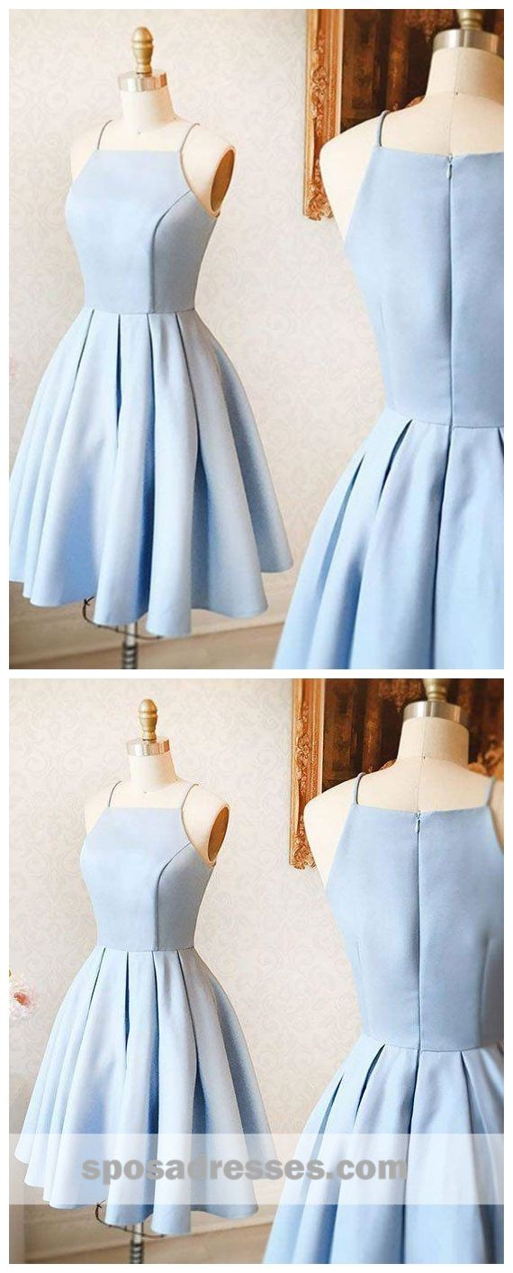 Simple light blue short cheap homecoming dresses under cm