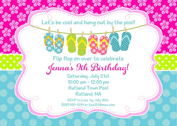 Flip Flops Pool Party Birthday Invitations 100 Each Festivityfavors