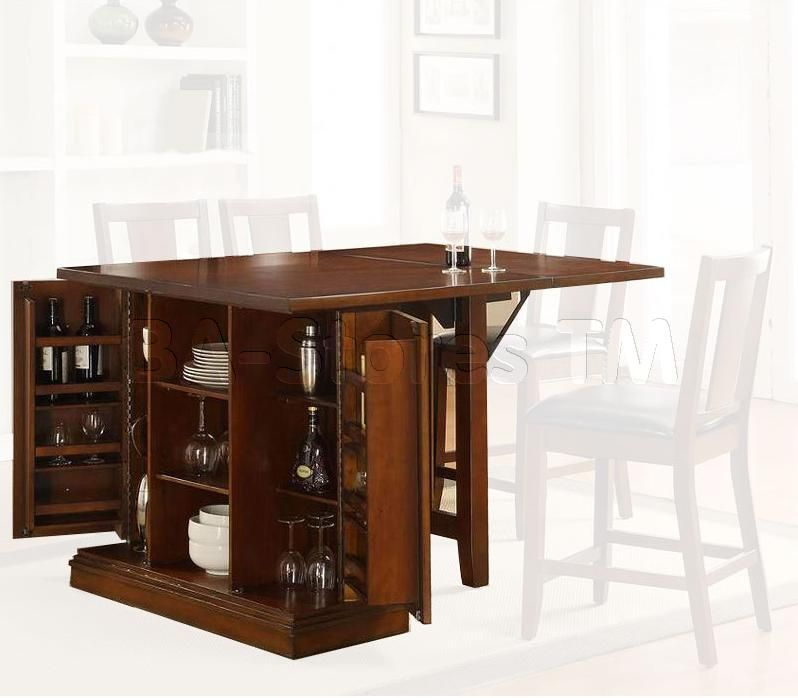 Kitchen Counter Island Table: Kitchen Island Dark Oak Counter Height Table With Storage Base - Acme Furniture