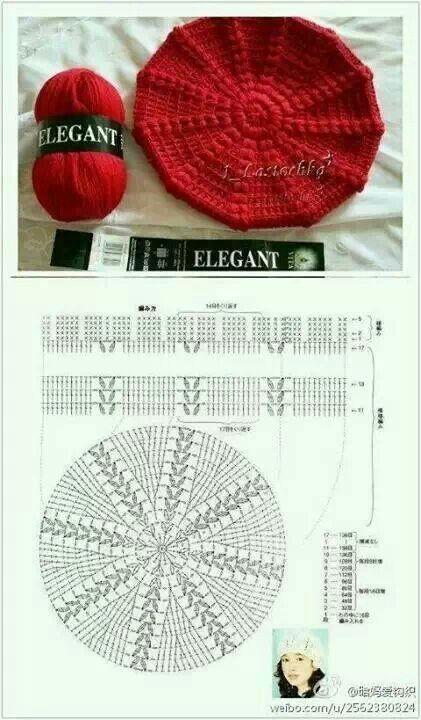 Crochet Bonnet Avec Diagramme Beret En Crochet Tricot Et Crochet Chapeau Crochet
