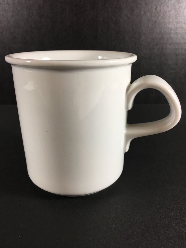 Dansk Cafe Blanc Mug White Coffee Cup Rimmed Porcelain 12 Ounces