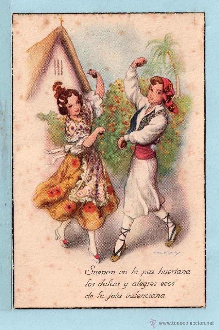 1746 POSTAL BAILE DE VALENCIANA ESCRITA EL AÑO 1950 (Postales - Dibujos y Caricaturas)