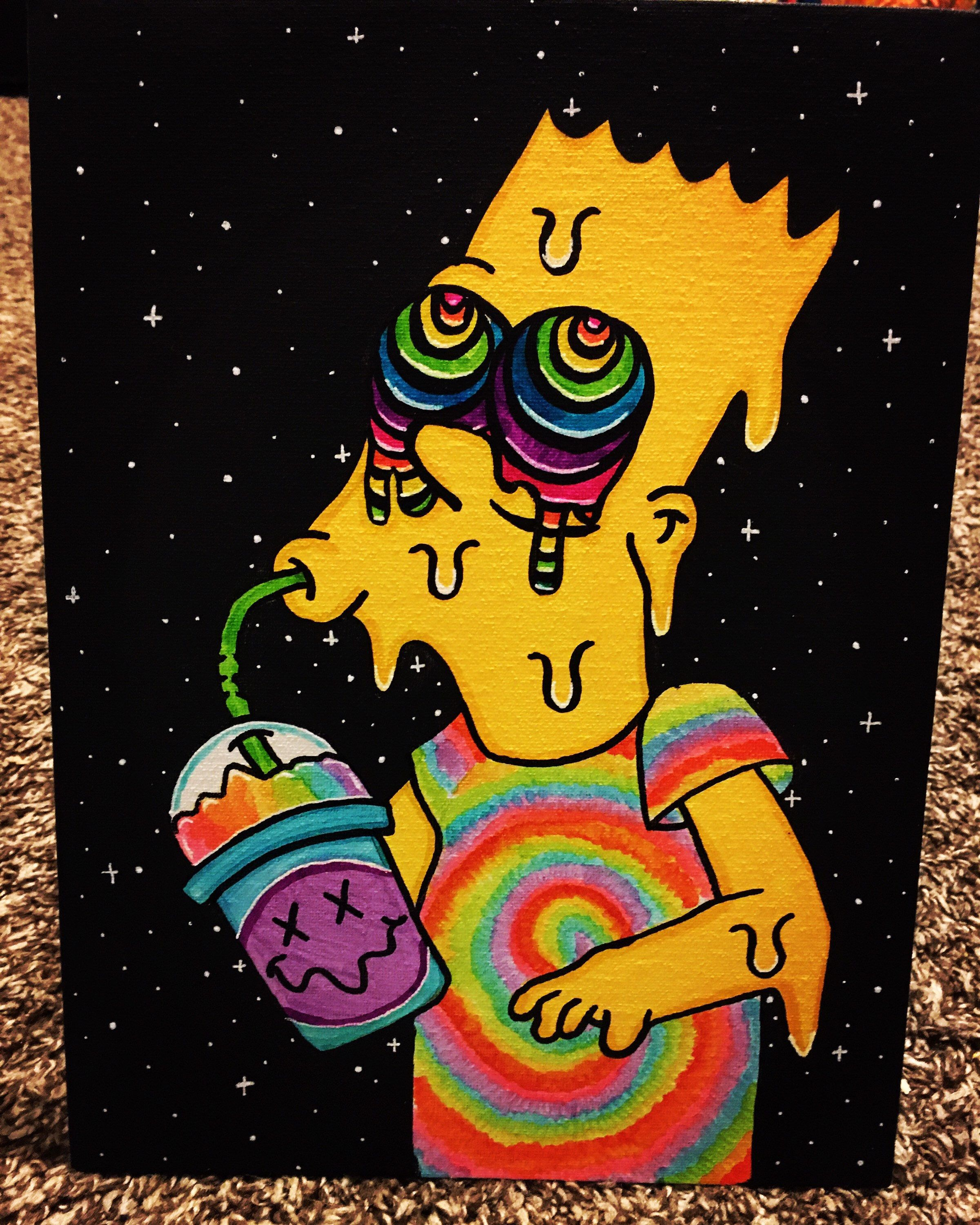 Trippy Bart Etsy In 2020 Hippie Painting Mini Canvas Art Cute Canvas Paintings
