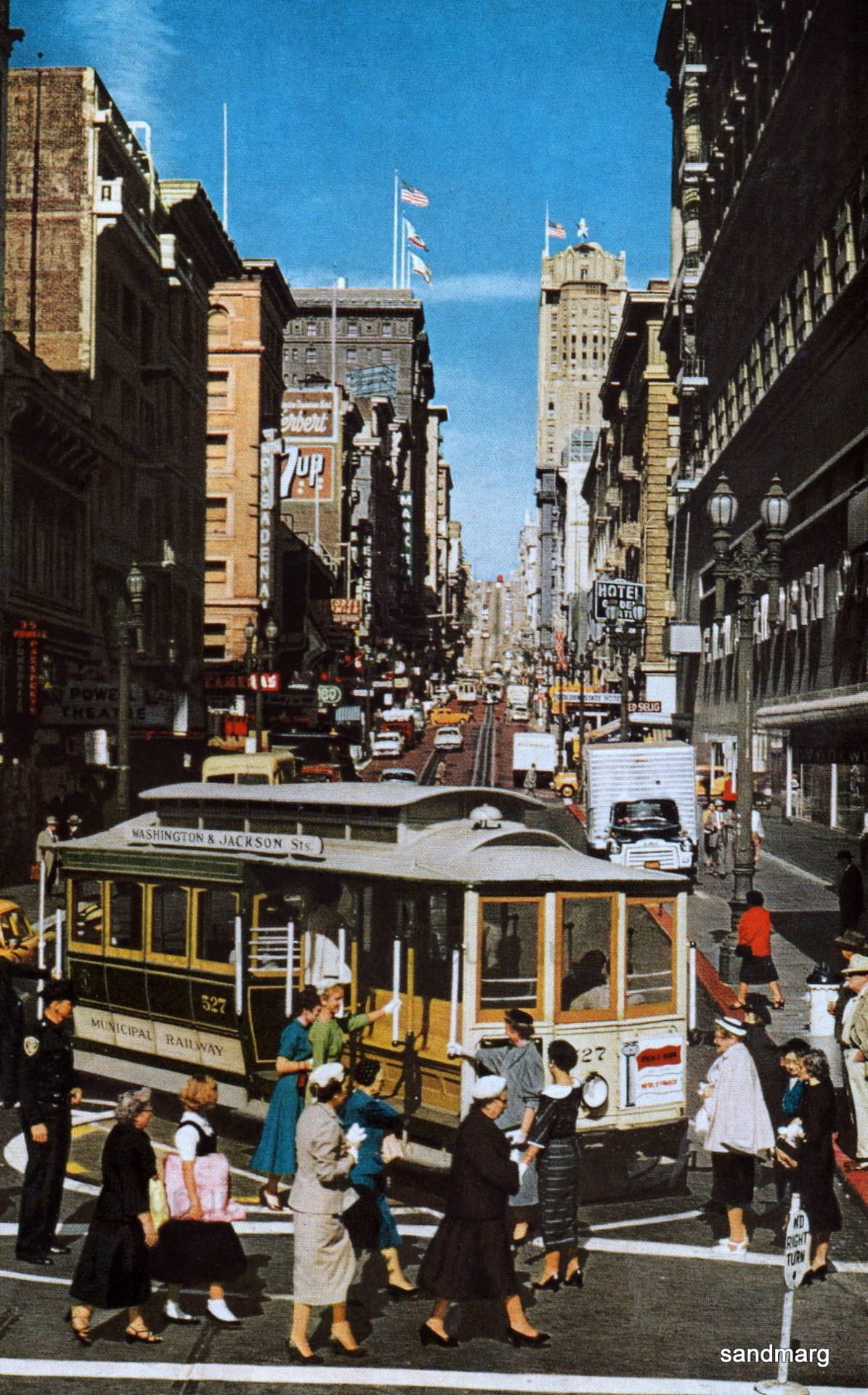 1956 San Francisco Cable Car, when women wore hats, gloves and heels to shop in the City.