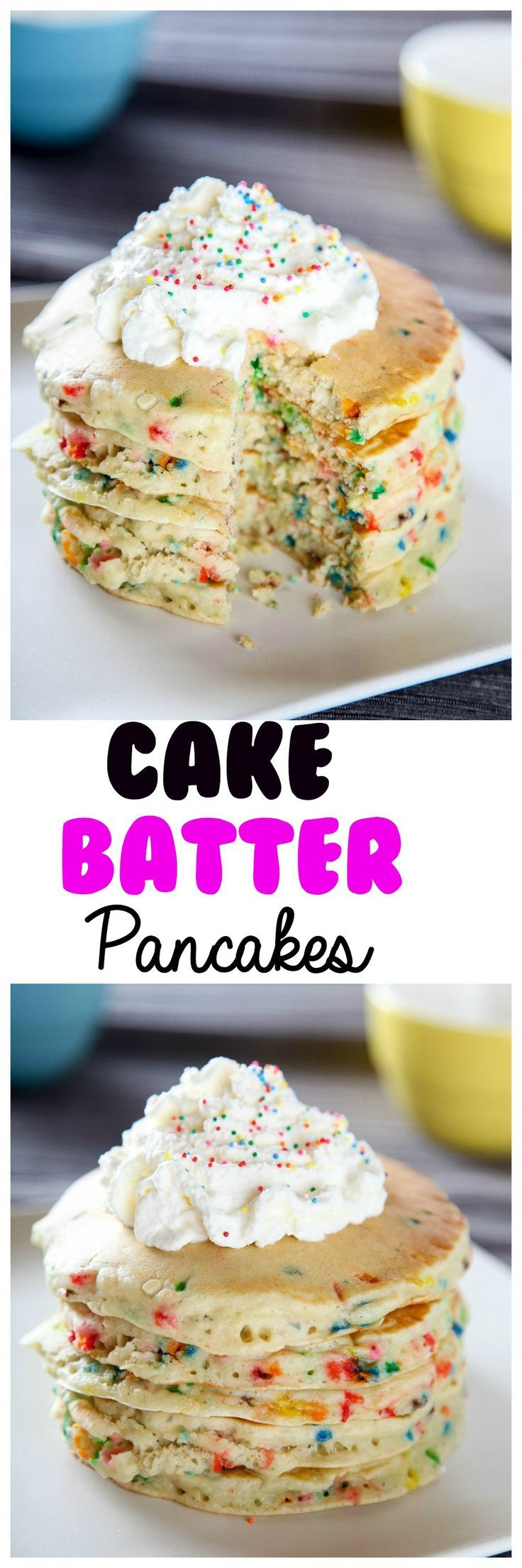 Cake Batter Funfetti Pancakes: Fluffy melt in your mouth pancakes topped with a sweetened whipped cream. Now you can enjoy the flavor of cake: for breakfast! #cakebatter