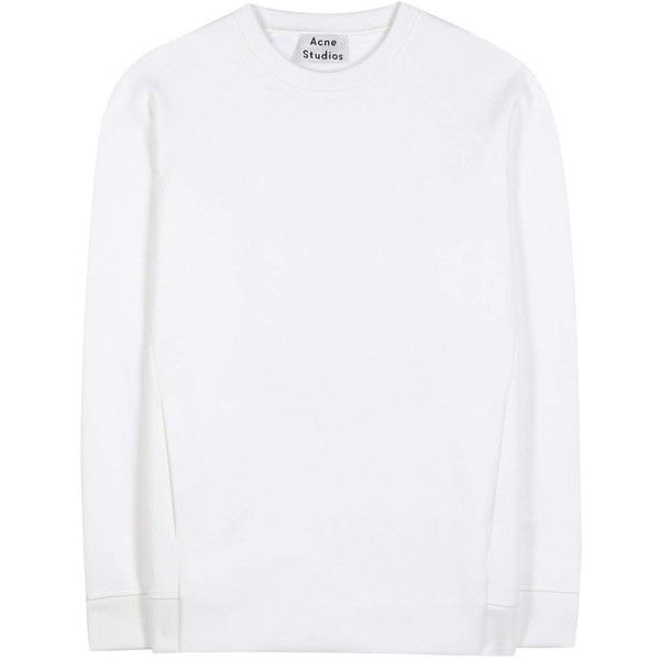 Acne Studios Nikoleta Cotton-Blend Sweatshirt (€175) ❤ liked on Polyvore featuring tops, hoodies, sweatshirts, sweaters, pull, white, white top, white sweatshirt and acne studios