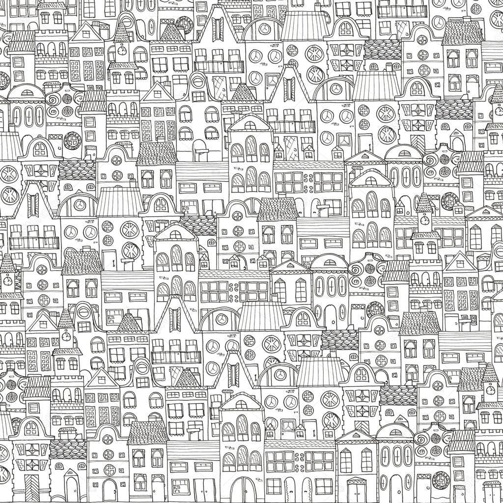 Fumetto Case Di Città Disegni Da Colorare Immagini Stock