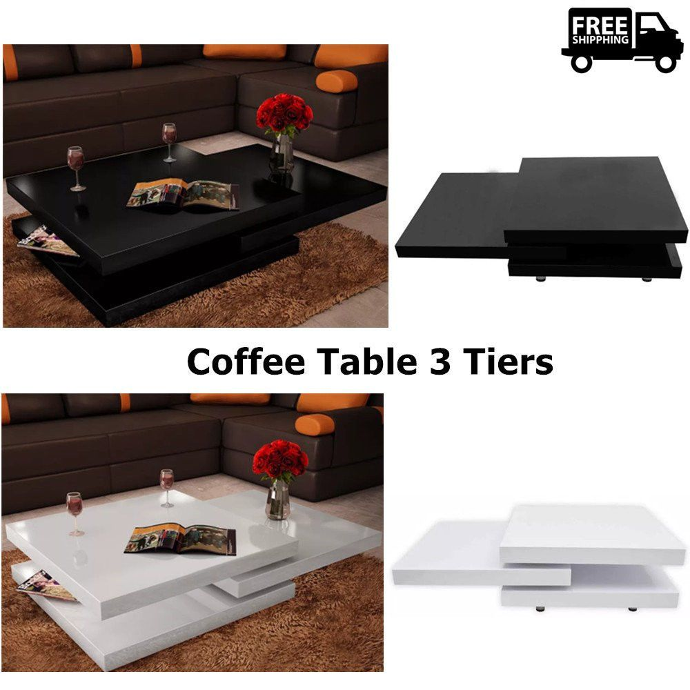 Coffee table tiers high gloss living room furniture square modern
