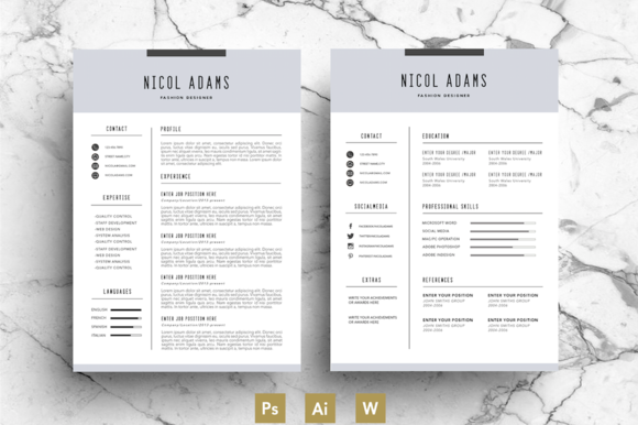 Creative Resume Template  Cv By EmilyS Art Boutique On