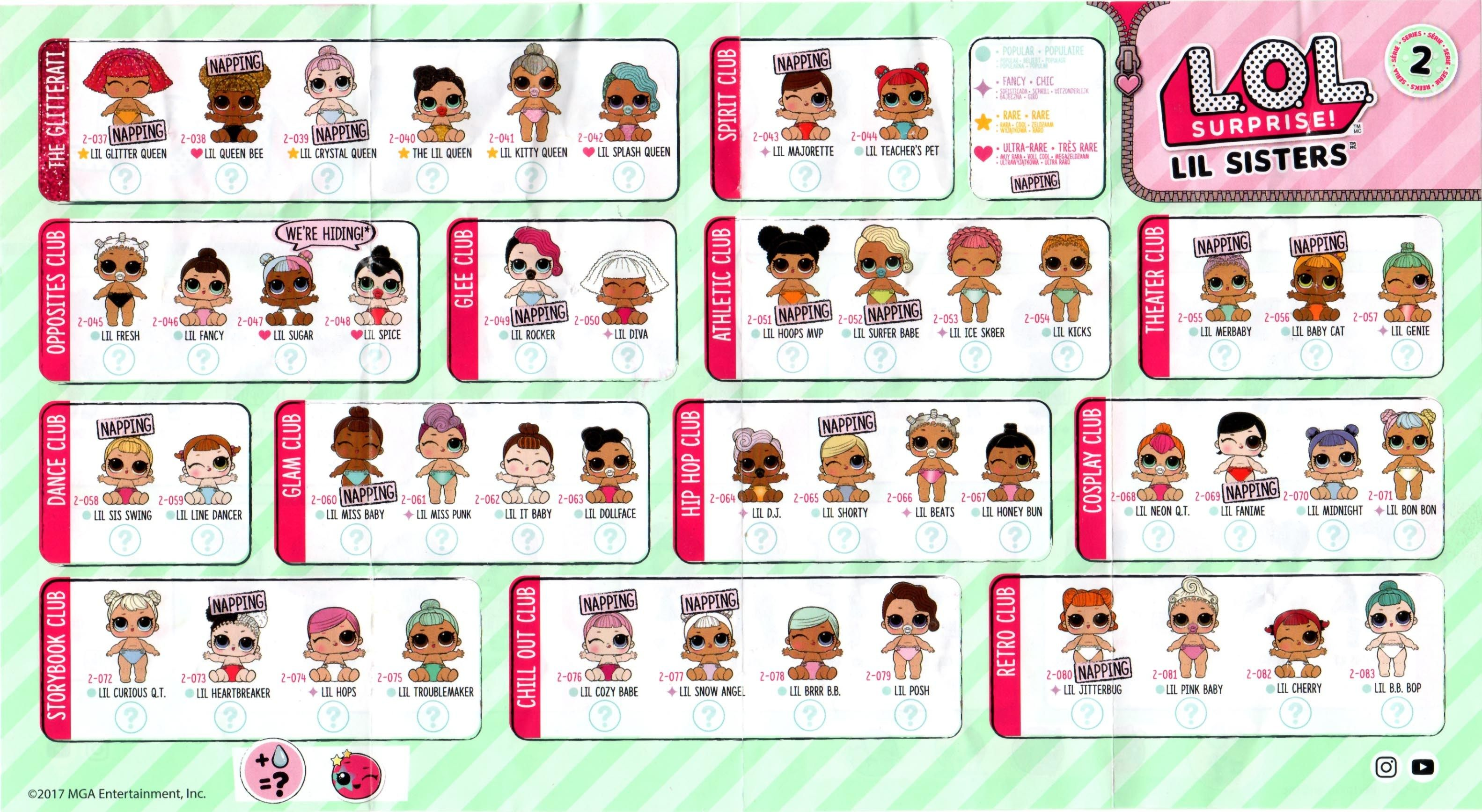 Lol Surprise Lil Sisters Doll Series 2 Checklist List Collector