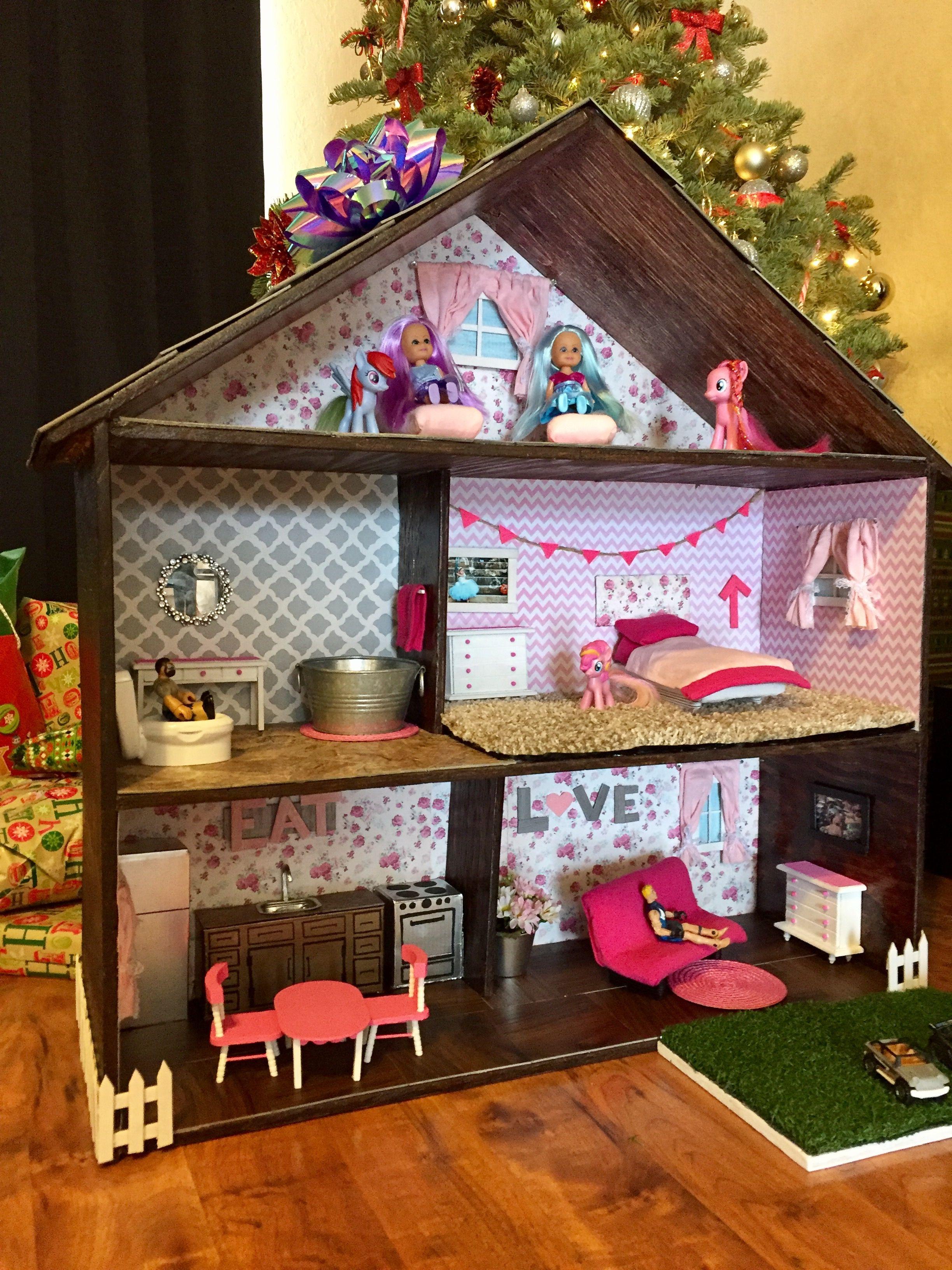Homemade DIY dollhouse. Under 40 Home Depot samples