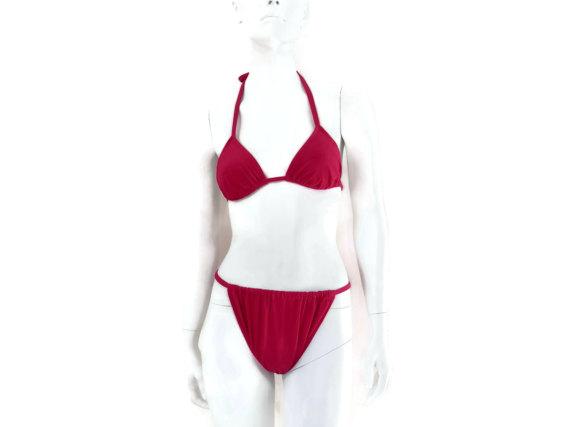 5a43ada40842e Vintage String Bikini by Roxanne Magenta Pink Bathing Suit Women s Swimsuit  Old Store Dead Stock siz