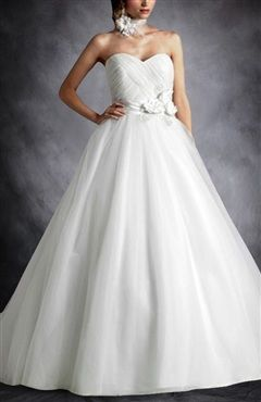 Sweetheart Floral Waistband Ball Gown Wedding Dress - Wedding Gowns - OuterInner.com