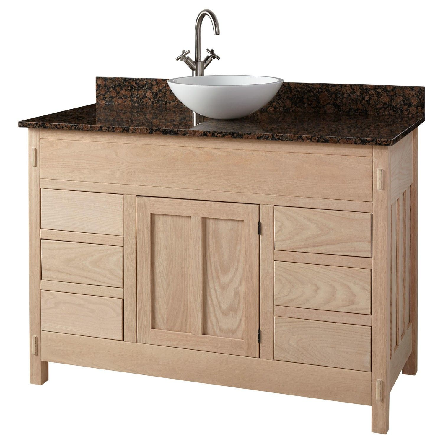Unfinished Narrow Depth Mission Hardwood Vanity For Undermount Sink