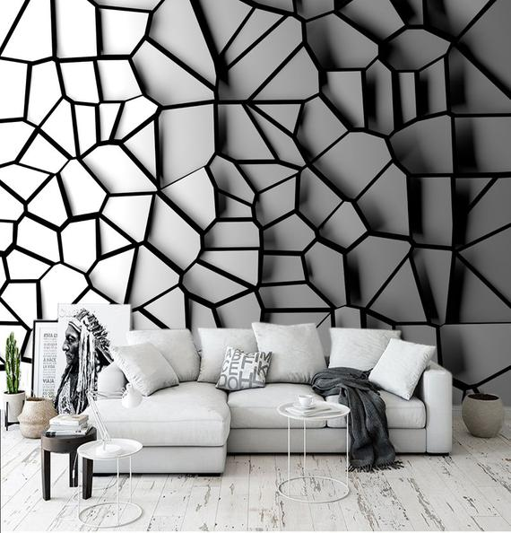 3d Wall Mural Abstraction Removable Interior Wall Design