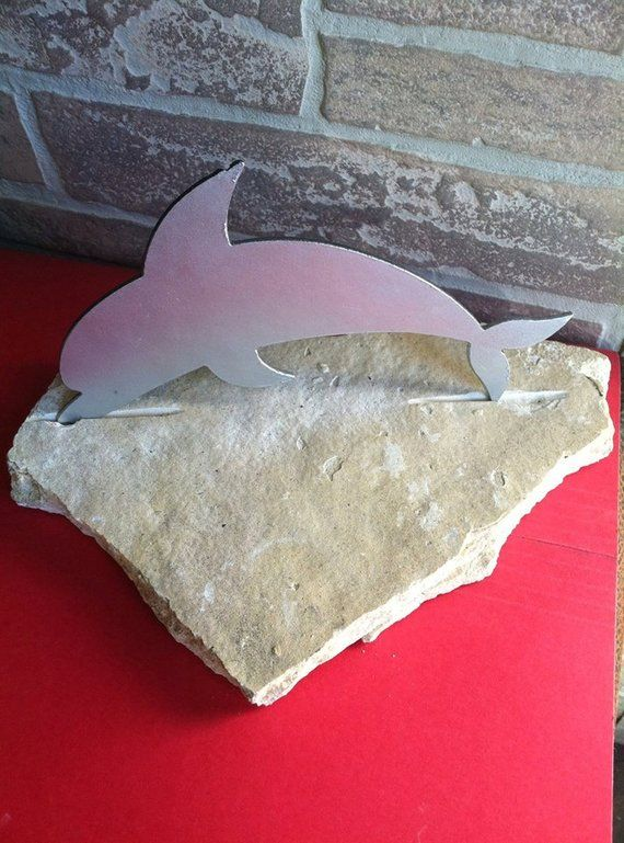 Dolphin Made From Metal Set In Flag Stone Home Decor Products