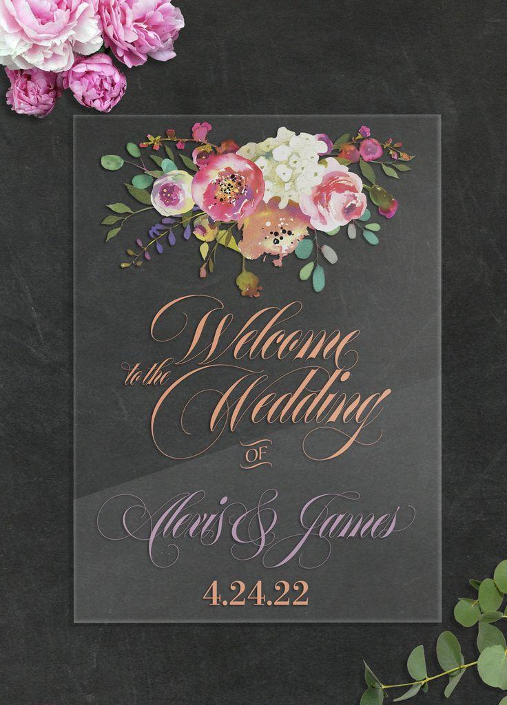 Wedding Sign Clear Acrylic Wedding Sign Floral