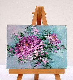 LavenderChrysanthemums 3 x 4 pulgadas pintura al óleo