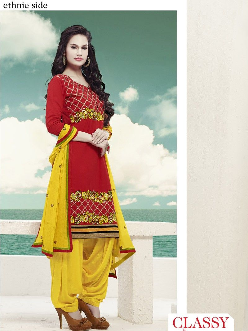 Red with Yellow Embroidered Patiala Salwar Kameez Suit