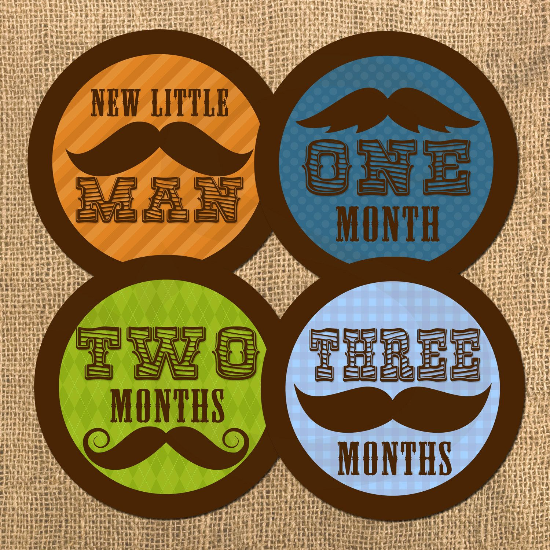 Little Man Monthly Onesie Stickers - Mustache