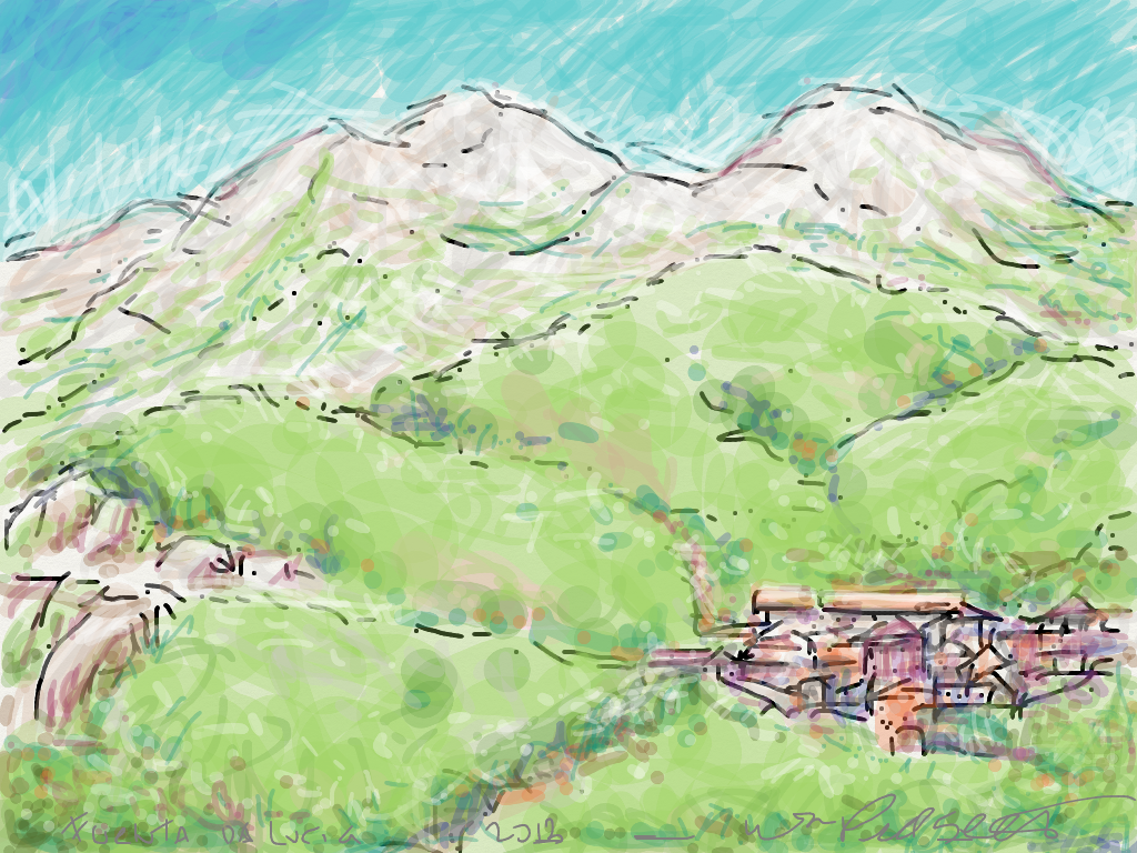 View of San Pietro from Feado, Spain #Procreate