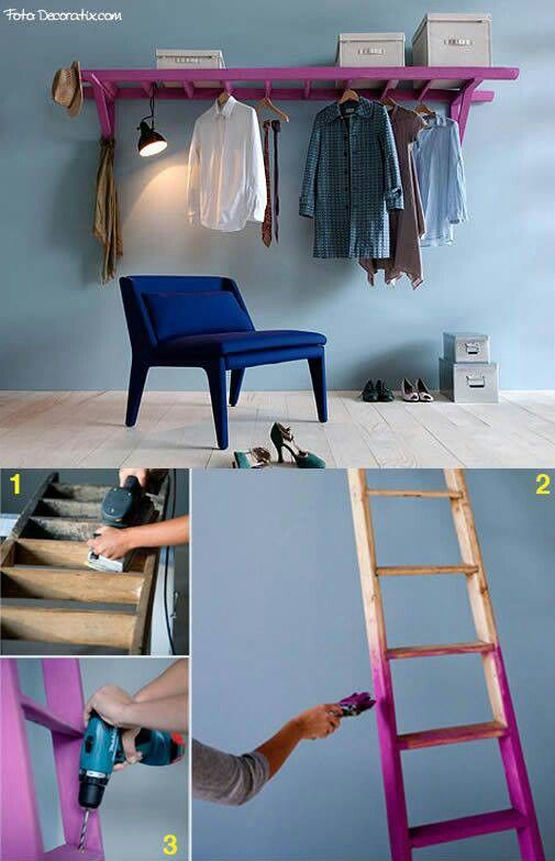 .Great idea to use an old ladder (repainted) for hanging items in the laundry room!