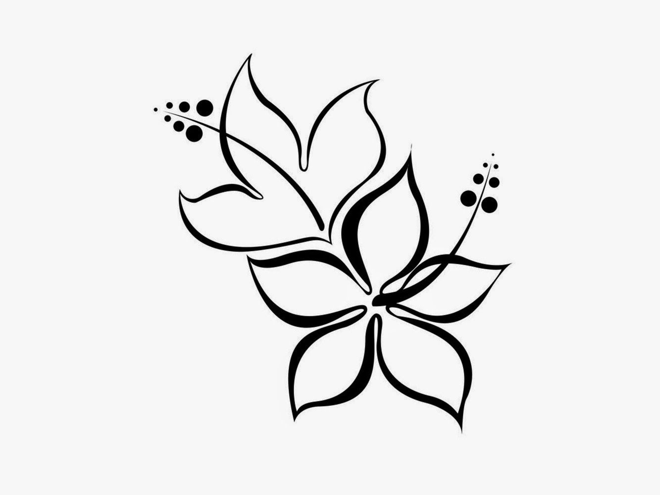 Simple Flower Designs Pencil Drawing Black And White Flower Design