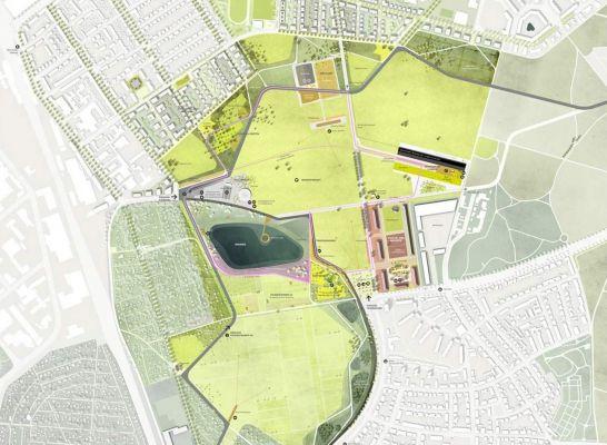 1 Rang Freiraumplanerischer Teil Grunzug Nordost U Competitionline Illustration Design Landscape Architecture Plan Design