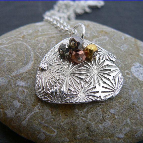 Handmade Silver Star Flower Pendant with by PreciousSparkleGifts, £39.00