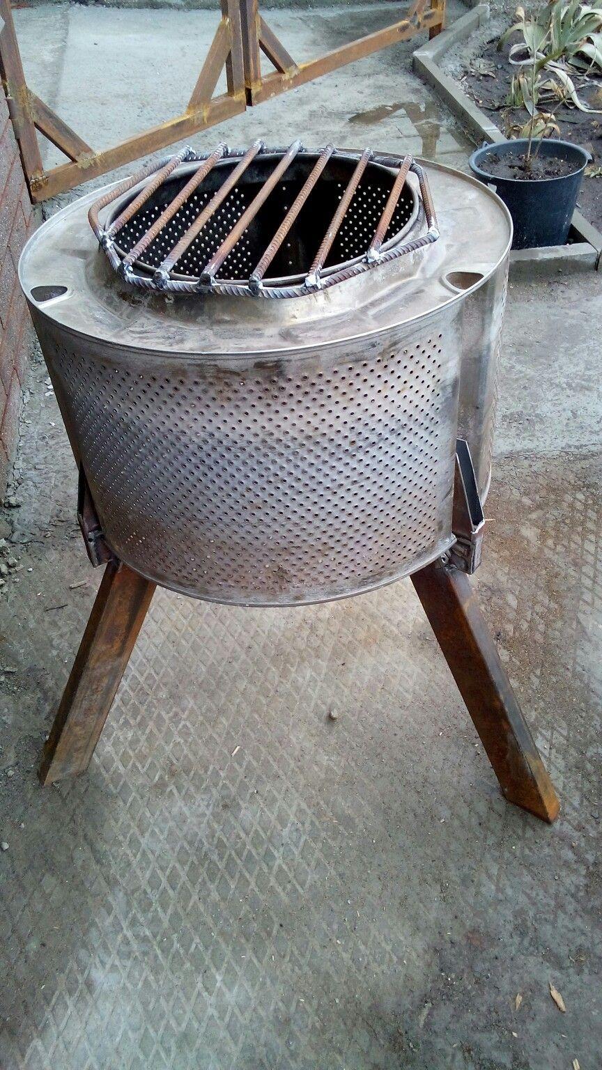 мангал из стирального барабана