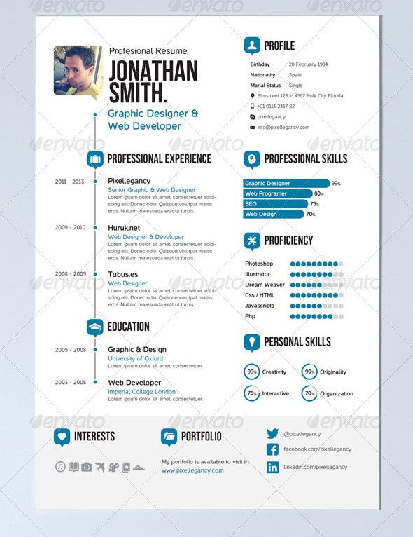Word 2013 Resume Template Nice Resume  Design  Graphic  Pinterest  Infographic