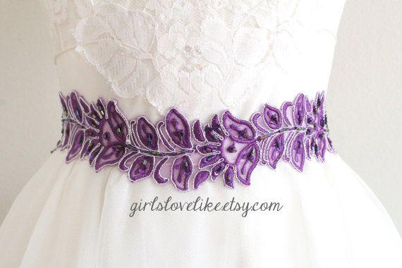 Silver Edge Purple Embroidery Beaded Lace Sash Belt, Bridal Purple Sash…